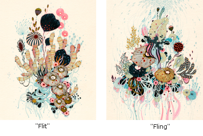 Flit and Fling prints by Yellena James on the set of Modern Family